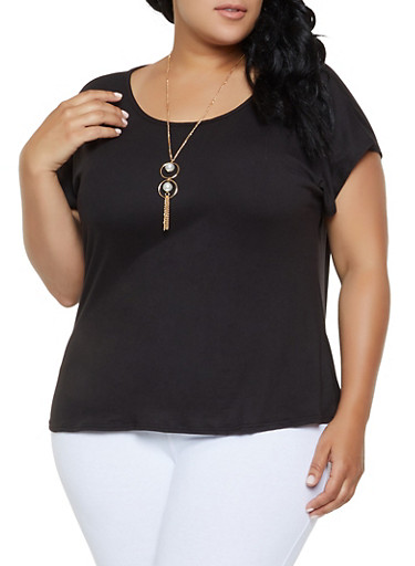 Plus Size Soft Knit Tee with Necklace,BLACK,large