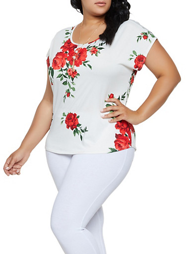 Plus Size Cap Sleeve Floral Tee with Necklace,WHITE,large