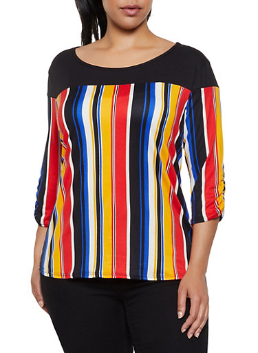 Plus Size Ruched Sleeve Striped Top,RED,large