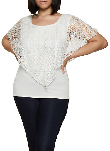 Plus Size Lace Overlay Top,WHITE,large