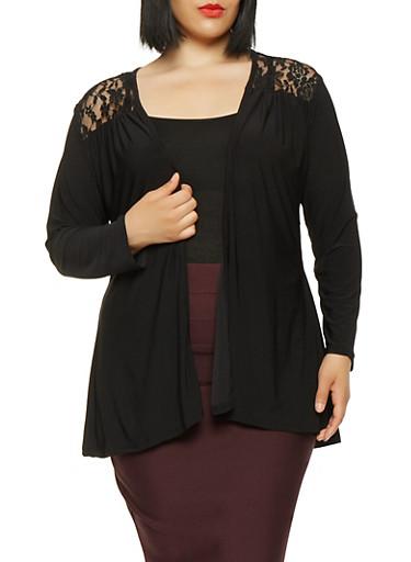 Plus Size Lace Back Cardigan,BLACK,large
