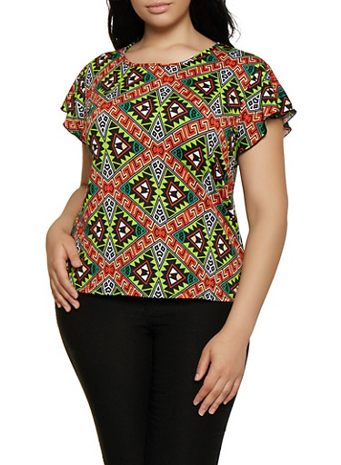 Plus Size Printed Scoop Neck Tee,GREEN,large