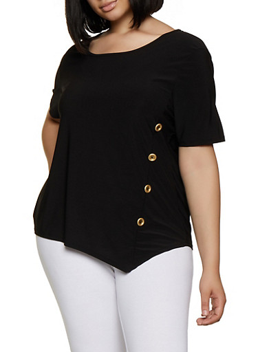 Plus Size Side Button Detail Top,BLACK,large