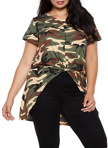 Plus Size Camo High Low Top,BROWN,large