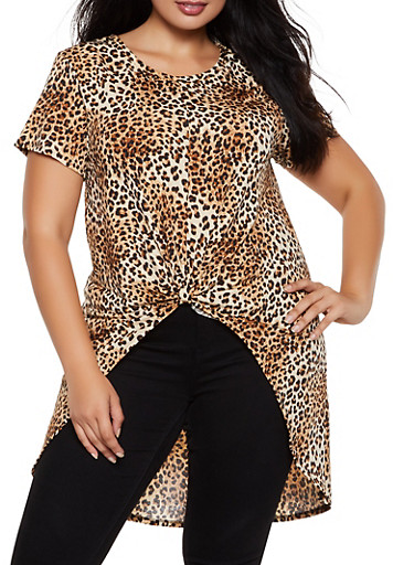 Plus Size Leopard Knot Front High Low Top,STONE,large