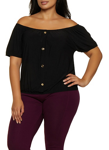 Plus Size Metallic Button Off the Shoulder Top,BLACK,large
