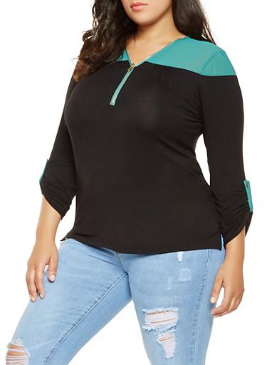 Plus Size Color Block Zip Front Top,BLACK,large