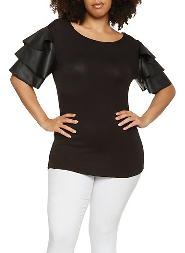 Plus Size Faux Leather Tier Sleeve Top,BLACK,large