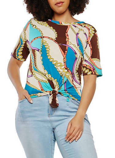 Plus Size Printed Tie Front Top,TEAL,large