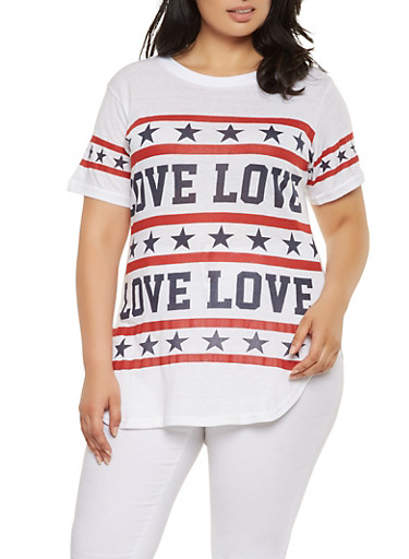 Plus Size Love Americana Graphic Tee,WHITE,large
