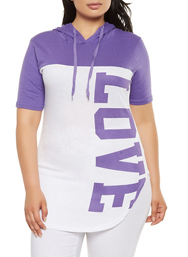 Plus Size Love Graphic Hooded Top,LAVENDER,large