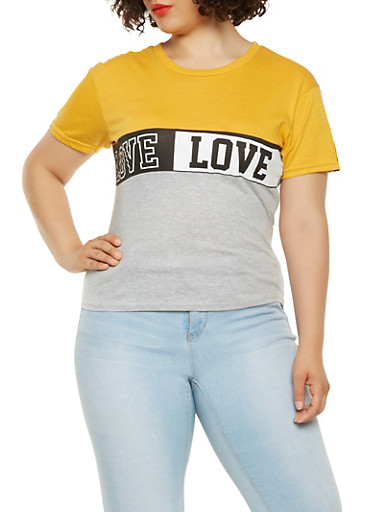 Plus Size Love Graphic Color Block Tee,MUSTARD,large