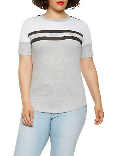 Plus Size Love Graphic Tee,HEATHER,large