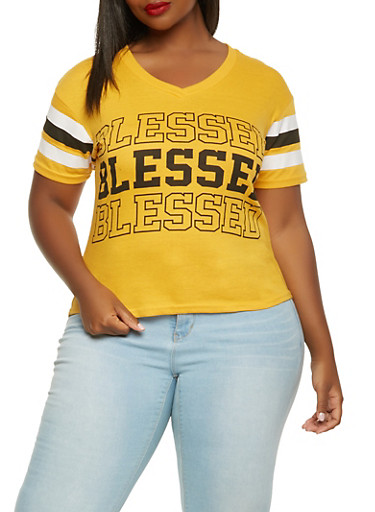 Plus Size Blessed Graphic Tee,MUSTARD,large