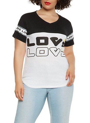 Plus Size Love Graphic Tee,BLACK/WHITE,large