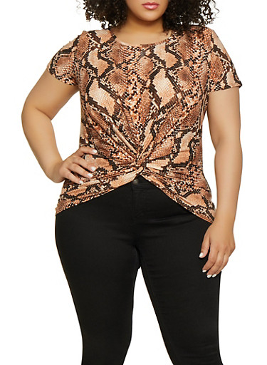 Plus Size Snake Print Twist Front Tee,RUST,large