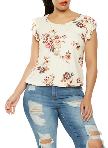 Plus Size Crochet Back Floral Top with Necklace,IVORY,large