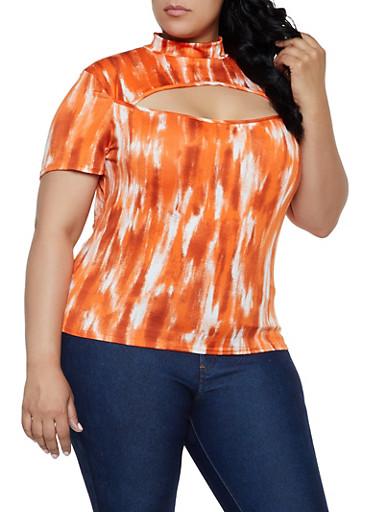 Plus Size Tie Dye Cut Out Mock Neck Top,ORANGE,large