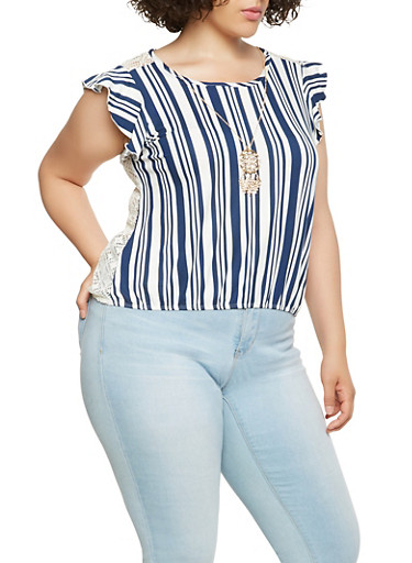 Plus Size Crochet Back Striped Top,NAVY,large