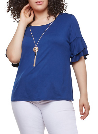Plus Size Tiered Sleeve Top with Necklace,NAVY,large