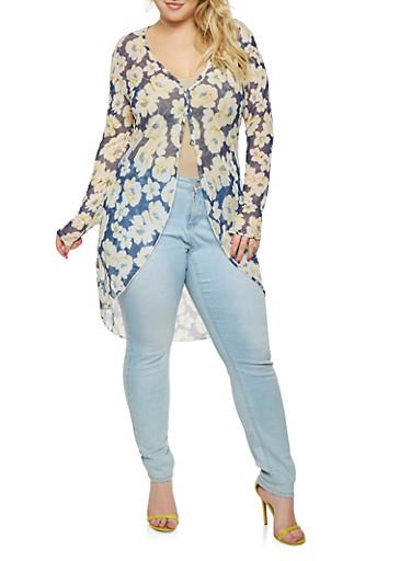 Plus Size Floral Mesh Kimono | Tuggl