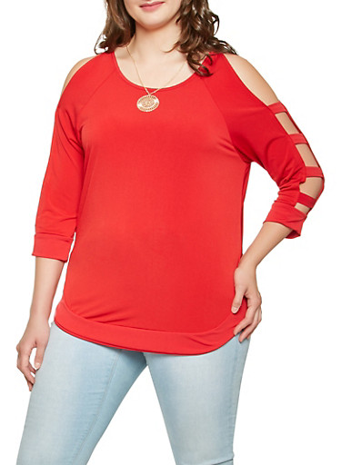 Plus Size Caged Sleeve Top with Necklace,RED,large