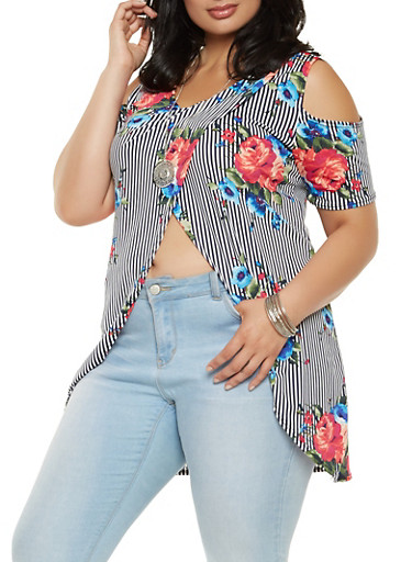 Plus Size Asymmetrical Cold Shoulder Printed Top,NAVY,large