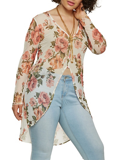 Plus Size Floral Mesh High Low Top,IVORY,large