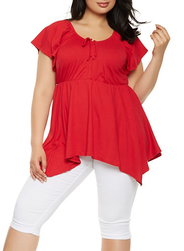 Plus Size Drawstring Detail Top,RED,large
