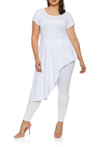 Plus Size Scuba Knit Asymmetrical Top,WHITE,large