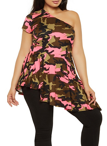 Plus Size One Shoulder Camo Ruffle Top,OLIVE,large