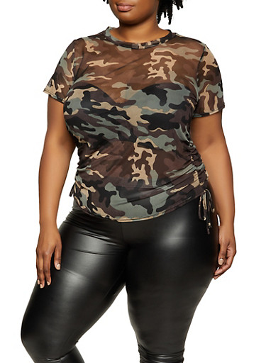 Plus Size Camo Drawstring Side Mesh Top,CHARCOAL,large