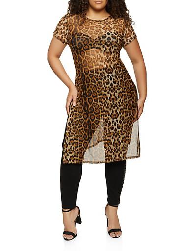 Plus Size Leopard Mesh Maxi Top,BROWN,large