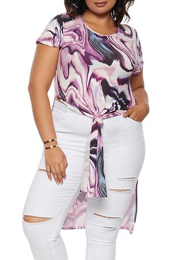 Plus Size Marble Print Maxi Top,LAVENDER,large