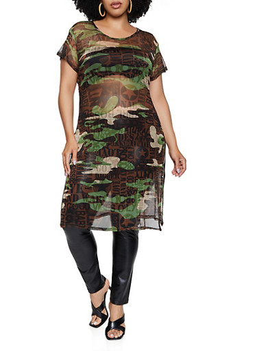 Plus Size Printed Camo Mesh Maxi Top,OLIVE,large