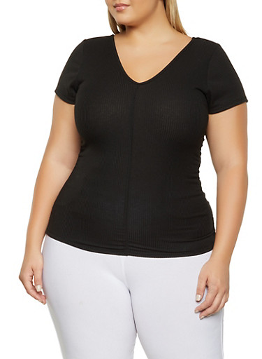 Plus Size Rib Knit Ruched Top,BLACK,large