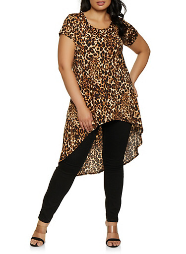 Plus Size Leopard High Low Top,BROWN,large