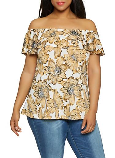 Plus Size Off the Shoulder Floral Top | 0912074017931,IVORY,large