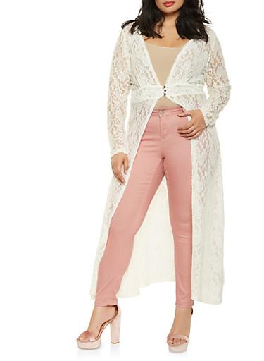 Plus Size Lace Maxi Top,IVORY,large