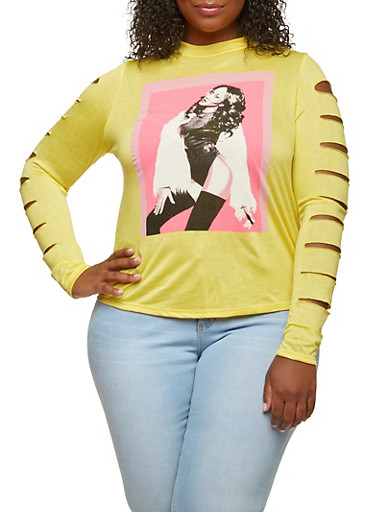 Plus Size Slashed Sleeve Graphic Top,GOLD,large