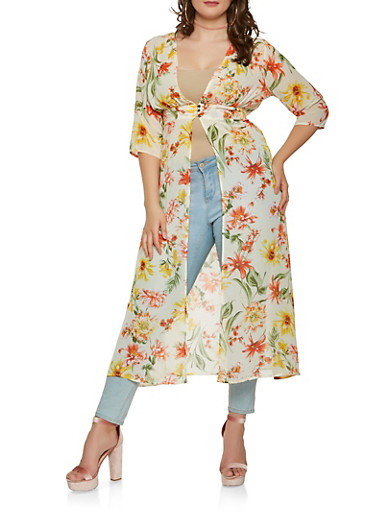 Plus Size Sheer Floral Maxi Top,IVORY,large