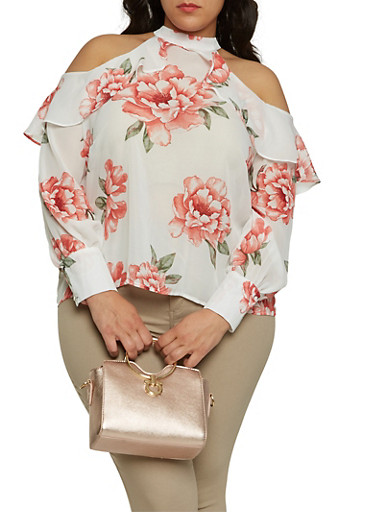 Plus Size Floral Cold Shoulder Top,IVORY,large