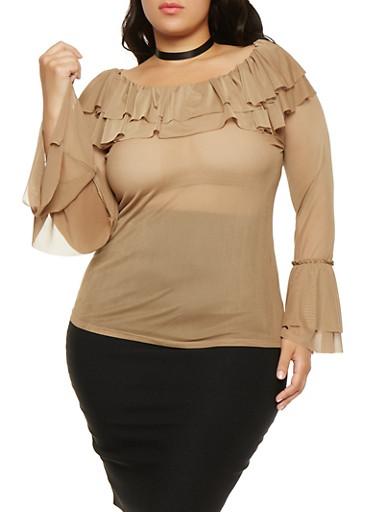 Plus Size Mesh Off the Shoulder Top,CAMEL,large