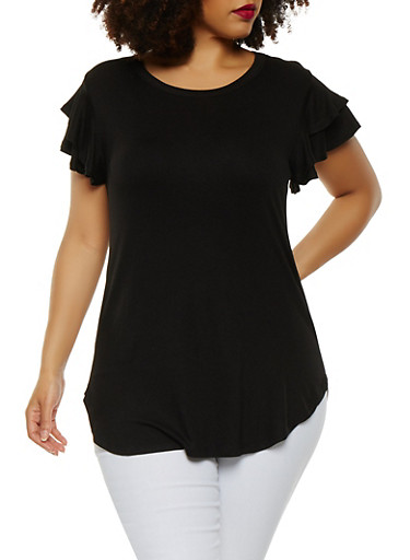 Plus Size Tiered Sleeve Tee,BLACK,large