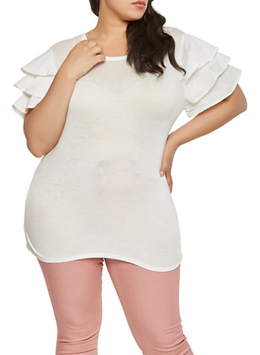 Plus Size Tiered Sleeve Tee,WHITE,large