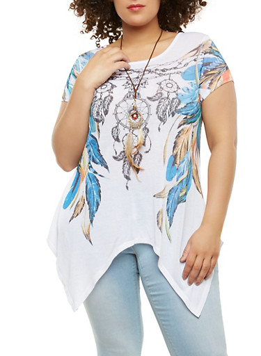 Plus Size Feather Print Top with Necklace,IVORY,large