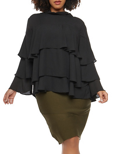Plus Size Tiered Bell Sleeve Blouse,BLACK,large