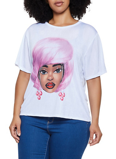 Plus Size Pink Hair Girl Graphic Tee,WHITE,large