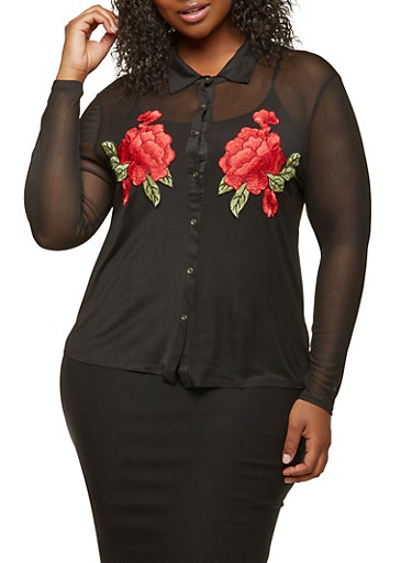 Plus Size Embroidered Mesh Top,BLACK,large