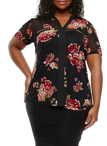 Plus Size Floral Mesh Zip Trim Top,BLACK,large